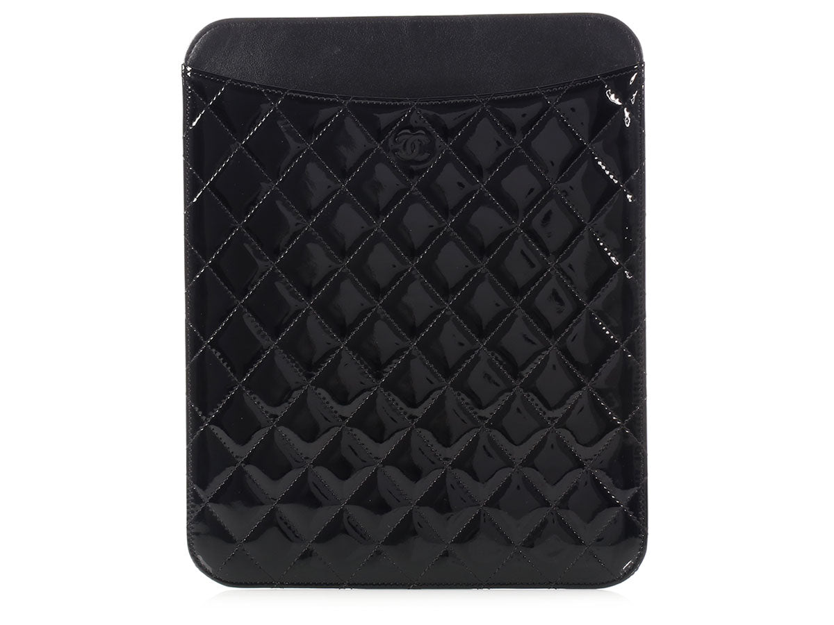 3dd142d3bf9922 Chanel Black Patent iPad Case - Ann's Fabulous Closeouts