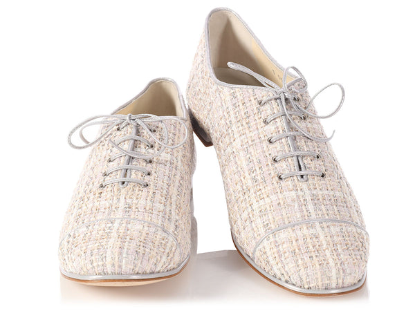Chanel Lace Up Tweed Shoes