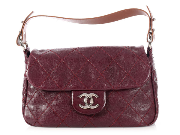 Chanel Two-Tone Burgundy and Brown Flap