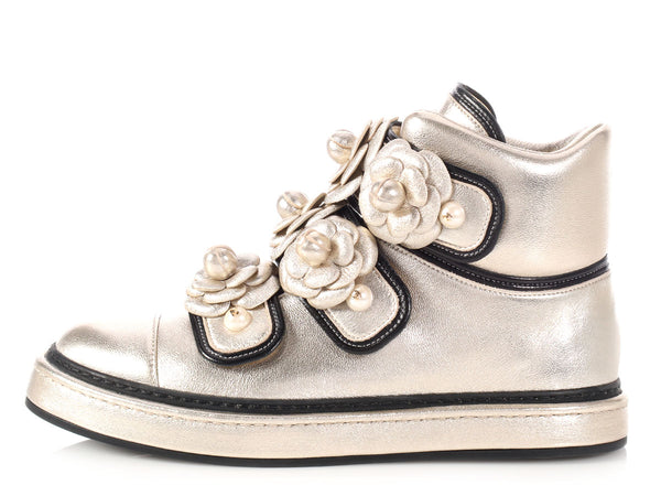 Chanel Gold Camellia High-Top Sneakers