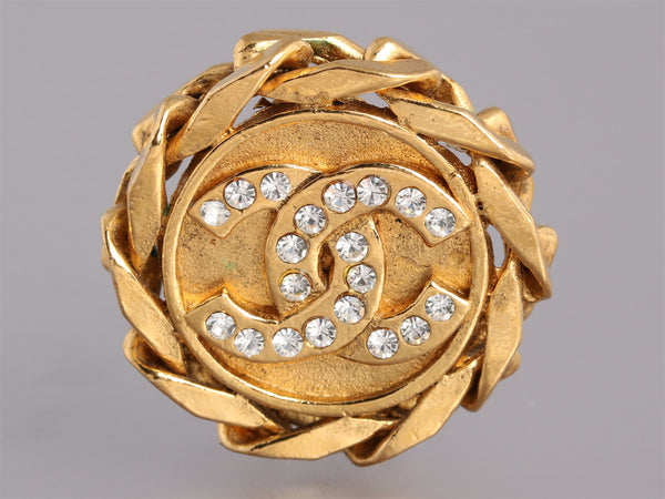 Chanel Vintage Crystal Logo Clip Earrings