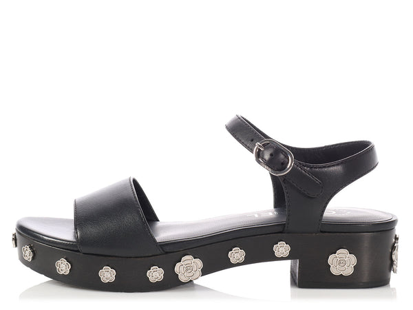 Chanel Black Camellia Charm Sandals