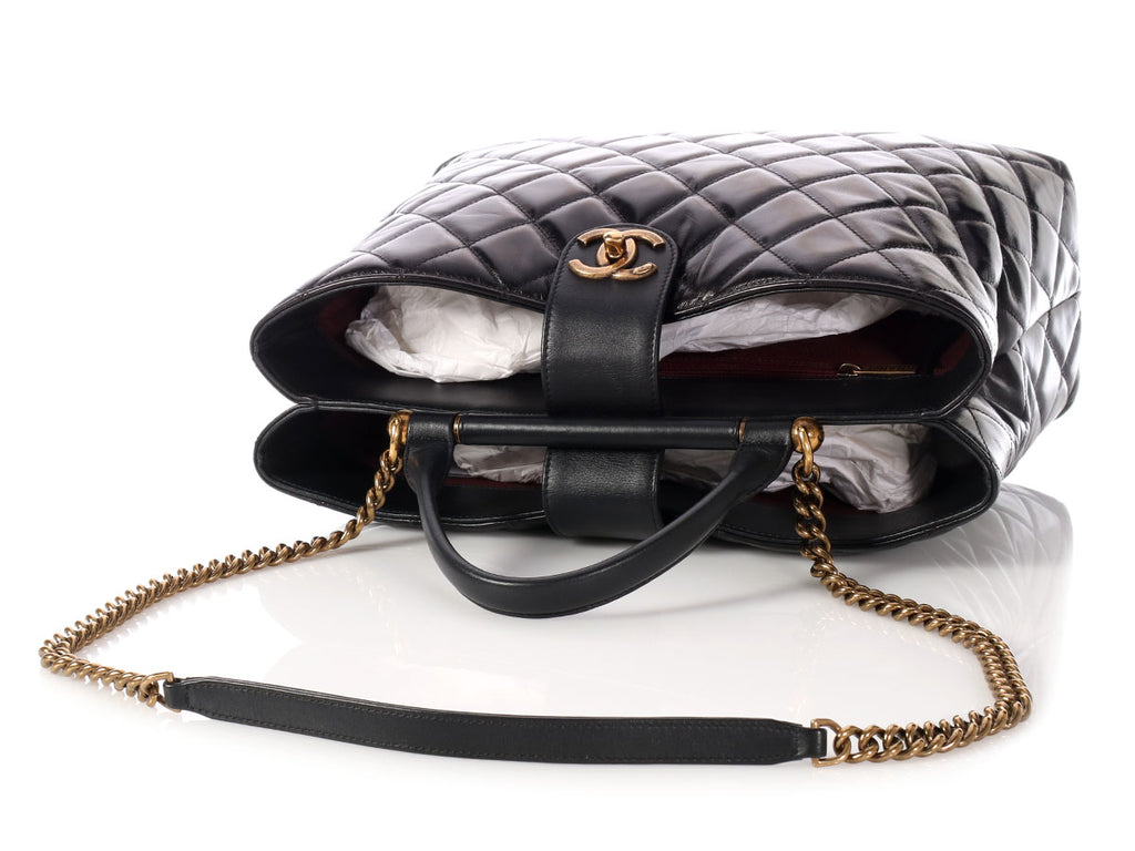 Chanel Black Quilted Glazed Calfskin Tote