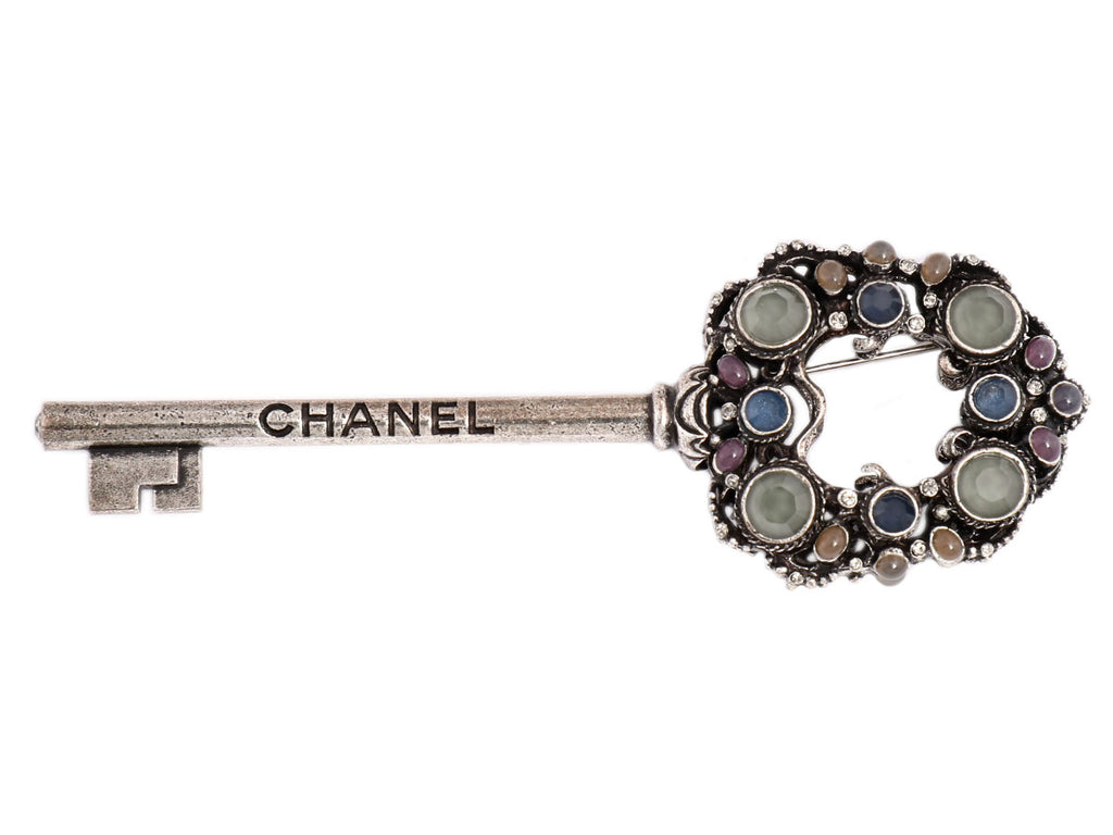 Chanel Large Gray, Blue, and Pink Key Brooch