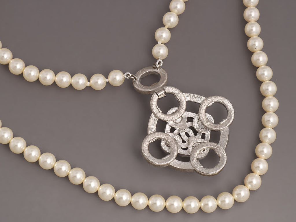 Chanel 5-Row Pearl and Crystal Logo Necklace