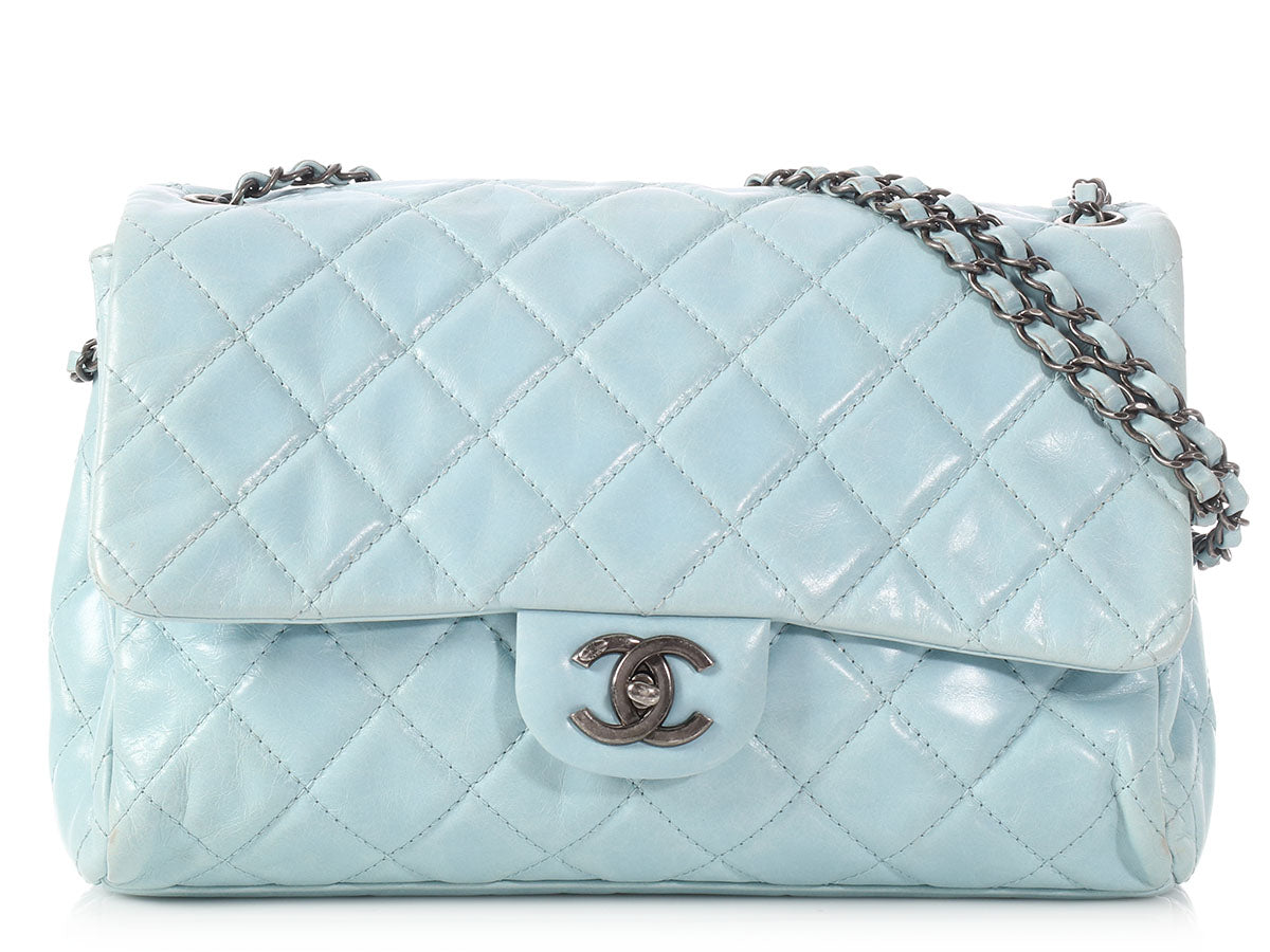 f94c77819696 Chanel Sky Blue Distressed Quilted Calfskin Flap - Ann s Fabulous ...