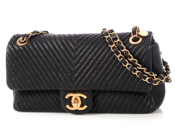 Chanel Black Chevron Quilted Distressed Calfskin Flap