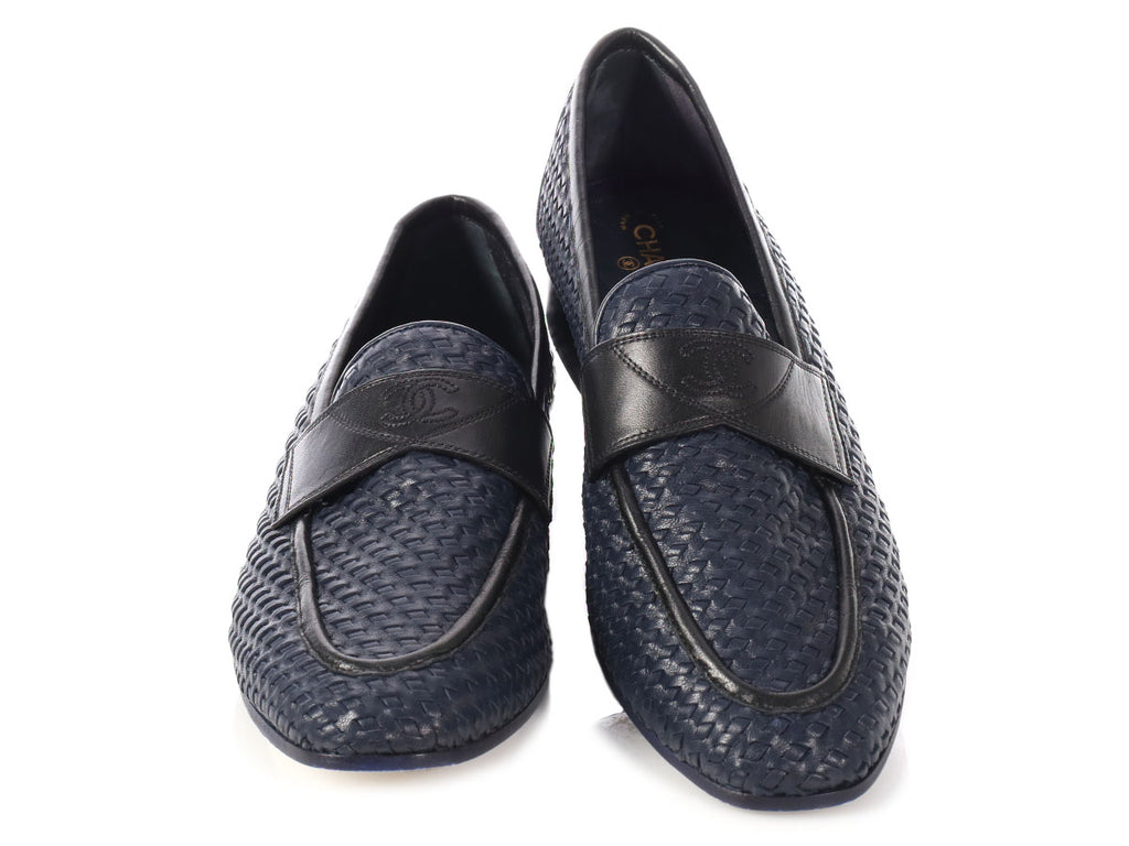 Chanel Navy Woven CC Loafers