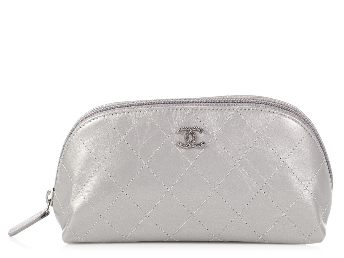 05a753d00c096 Chanel Silver Quilted Distressed Calfskin Cosmetic Bag - Ann s Fabulous  Closeouts