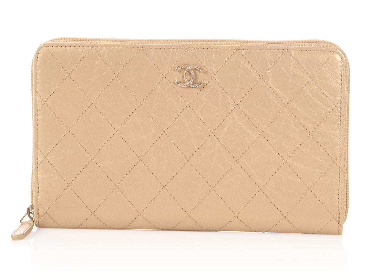 fe72d007379c Chanel Large Gold Quilted Distressed Leather Wallet - Ann's Fabulous ...