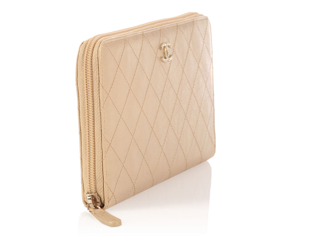 Chanel Large Gold Quilted Distressed Leather Wallet