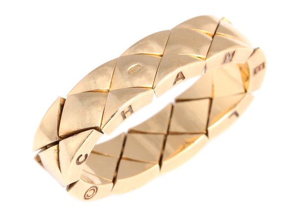 Chanel 18K Gold Matelassé Flexible Ring