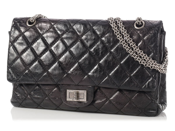 Chanel Black Quilted Distressed Metallic Reissue 227