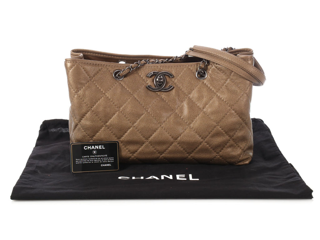 Chanel Bronze Quilted Caviar Tote