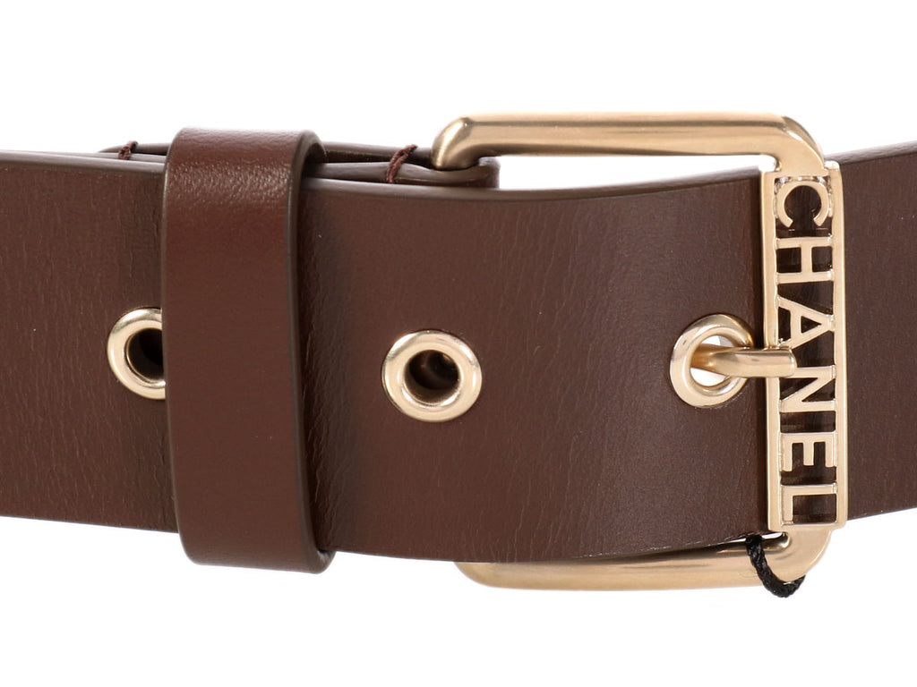 Chanel Brown Cross Stitched Leather Belt