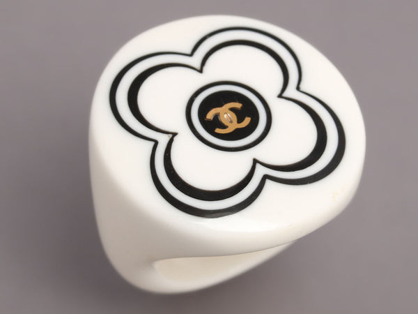 Chanel Camellia CC Logo Black White Resin Ring