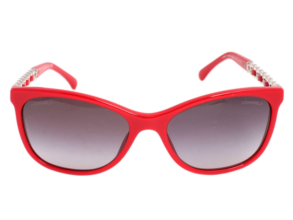 Chanel Red Chain Arm Sunglasses