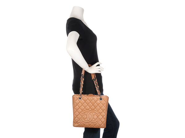 Chanel Tan Caviar Petite Shopping Tote PST