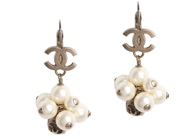 Chanel Pearl Cluster Logo Earrings