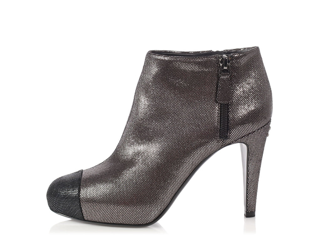 Chanel Metallic Cap Toe Short Boots