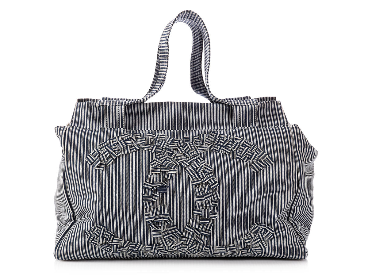1ffbf2552884 Chanel Limited Edition Blue and White Striped Tote - Ann's Fabulous ...