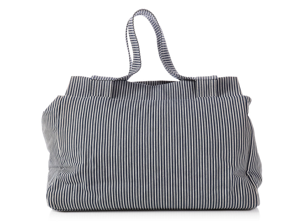 3af60427bfda Chanel Limited Edition Blue and White Striped Tote - Ann's Fabulous ...