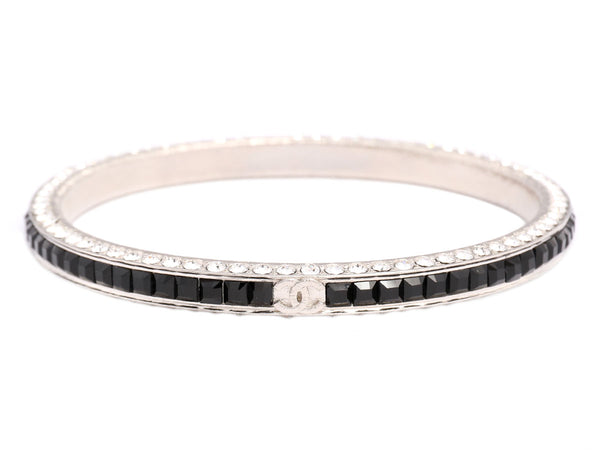Chanel Black and Clear Crystal Logo Bangle