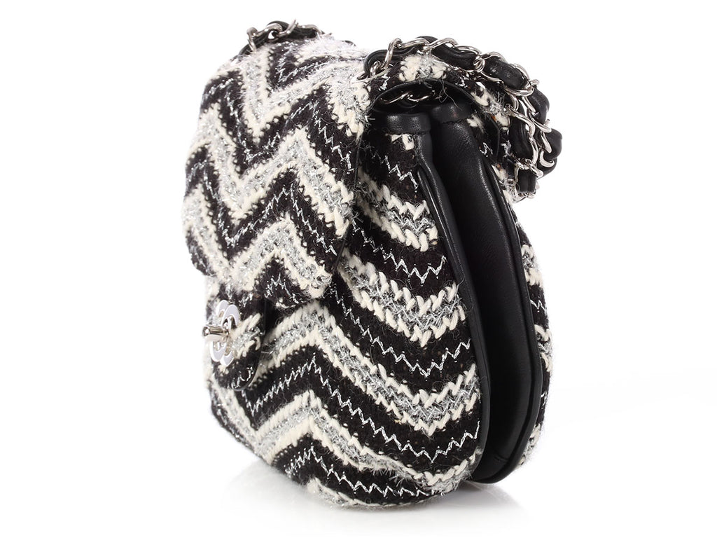 Chanel Black and White Tweed Handbag