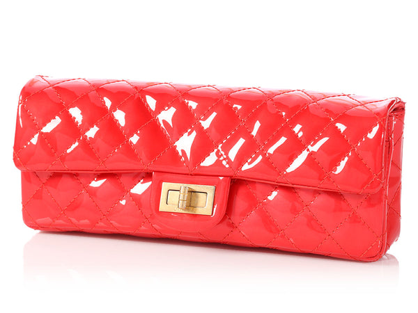 Chanel Red Quilted Patent Reissue Clutch