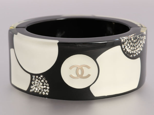 Chanel Logo Resin and Crystal Bangle