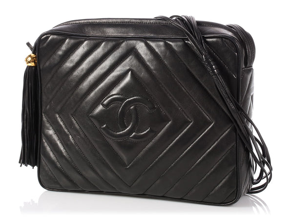 Chanel Large Black Chevron-Quilted Lambskin Camera Bag