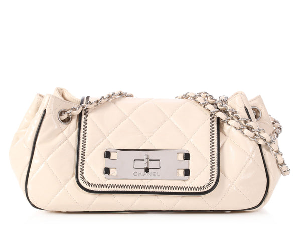 Chanel Small Beige Quilted Lambskin East West Accordion Flap