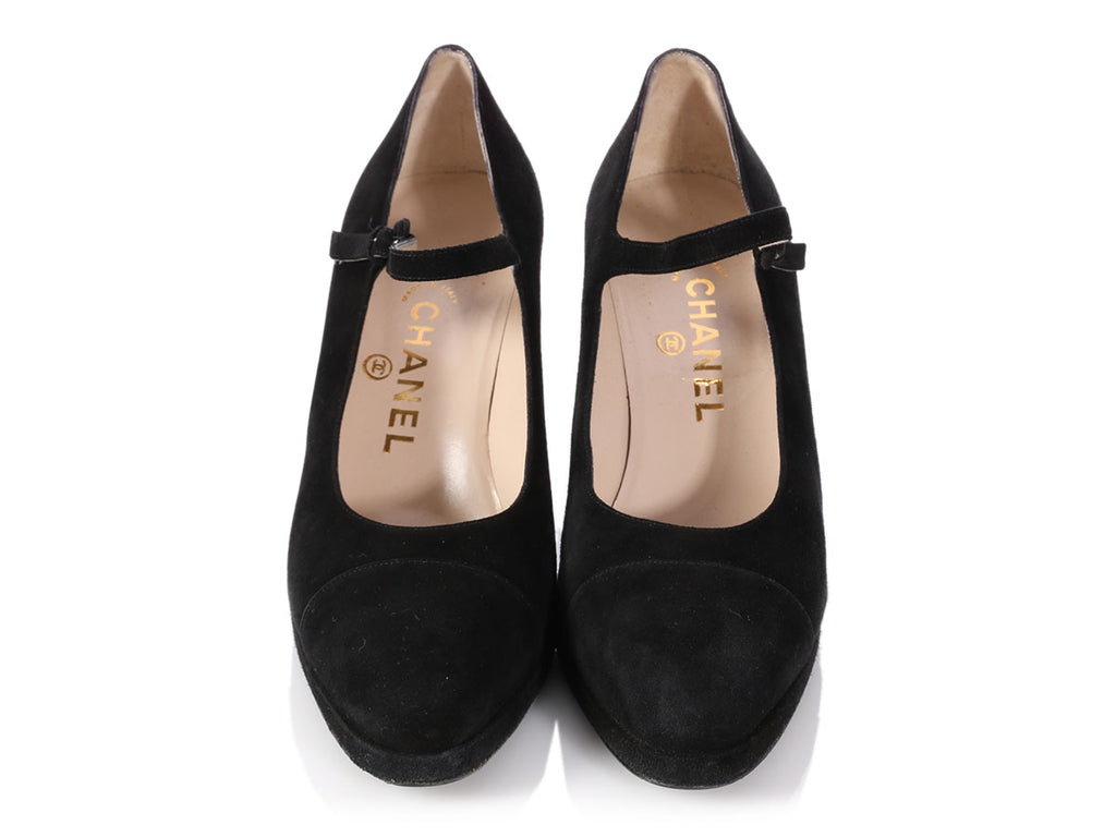 Chanel Black Suede Mary Jane Pumps