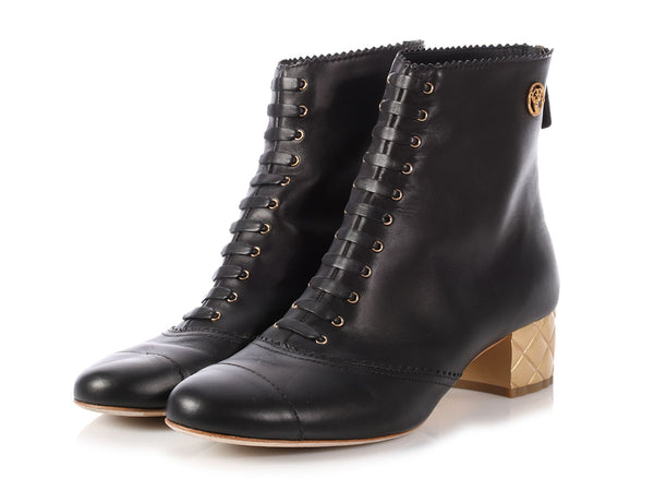 Chanel Black Paris-Salzburg Quilted Heel Ankle Boots