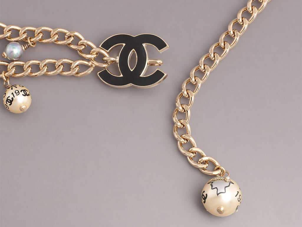 Chanel Pearl and Black Enamel Belt or Necklace