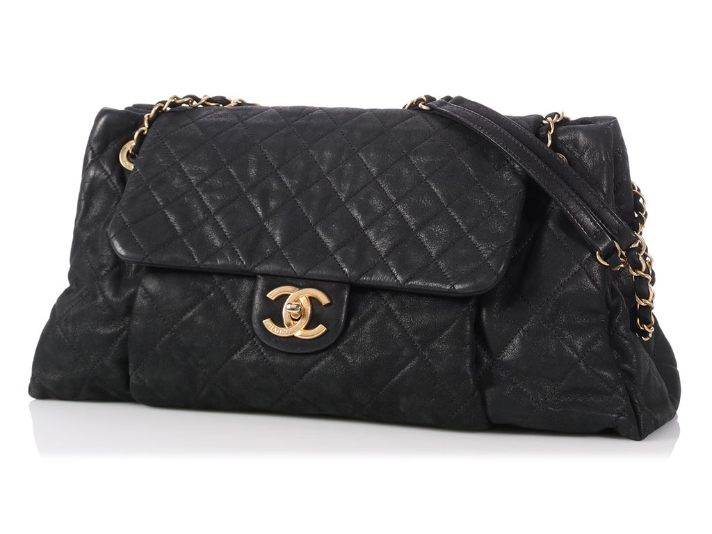 Chanel Black Quilted Suede Flap