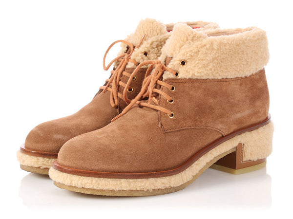 Chanel Brown Suede Lace Up Ankle Boots
