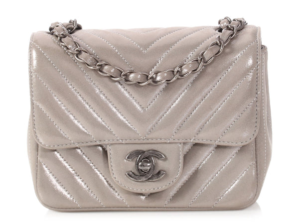 Chanel Mini Silver Gray Chevron Quilted Classic