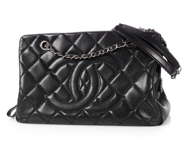 Chanel Black Quilted Caviar Shopping Tote