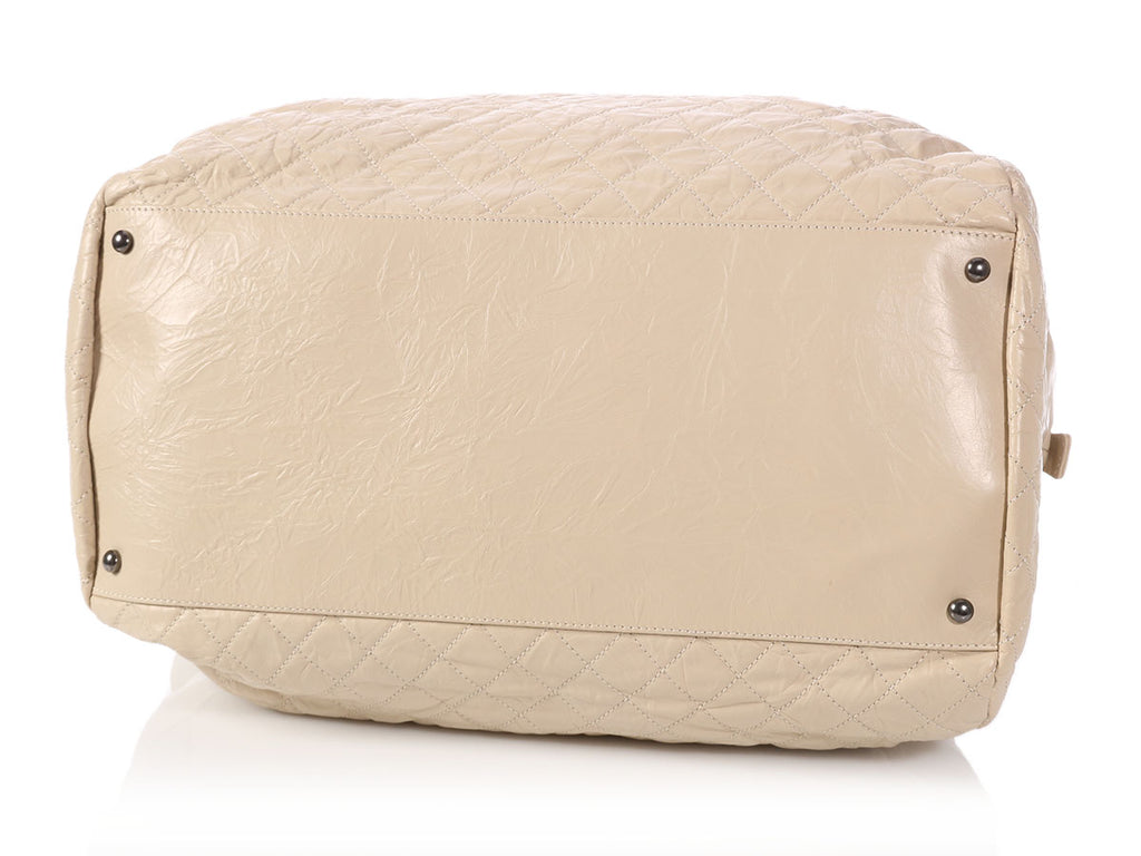 Chanel Extra Large Cream Crinkled Calfskin Bowler