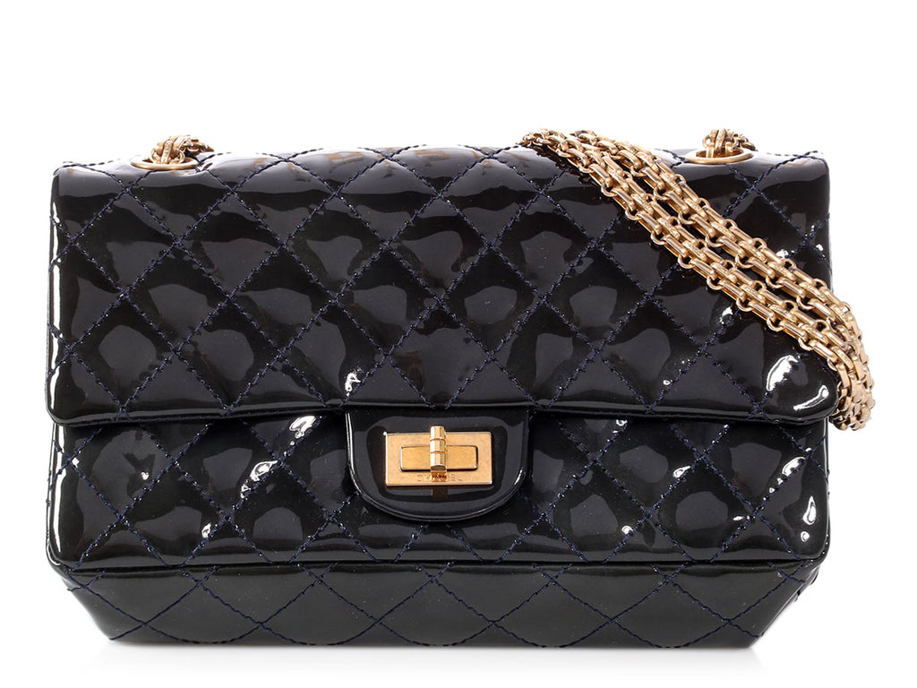 Chanel Marine Foncé Puffy Quilted Patent Reissue Flap