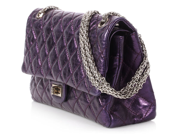 Chanel Purple Metallic Quilted Distressed Calfskin Reissue 226
