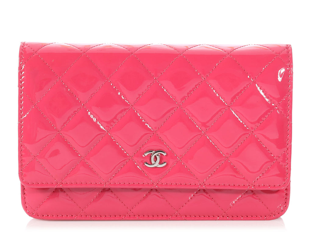 Chanel Pink Patent Wallet on a Chain WOC