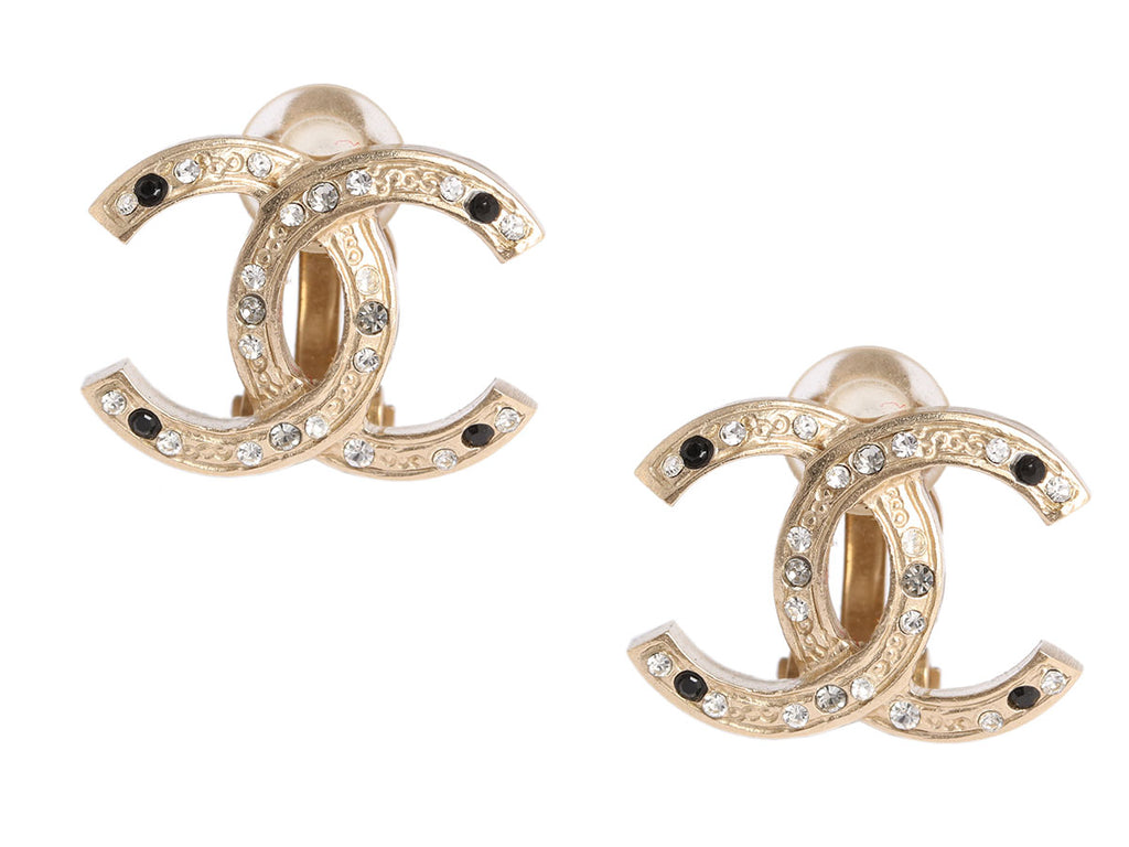 Chanel Black and Clear Crystal Logo Clip Earrings