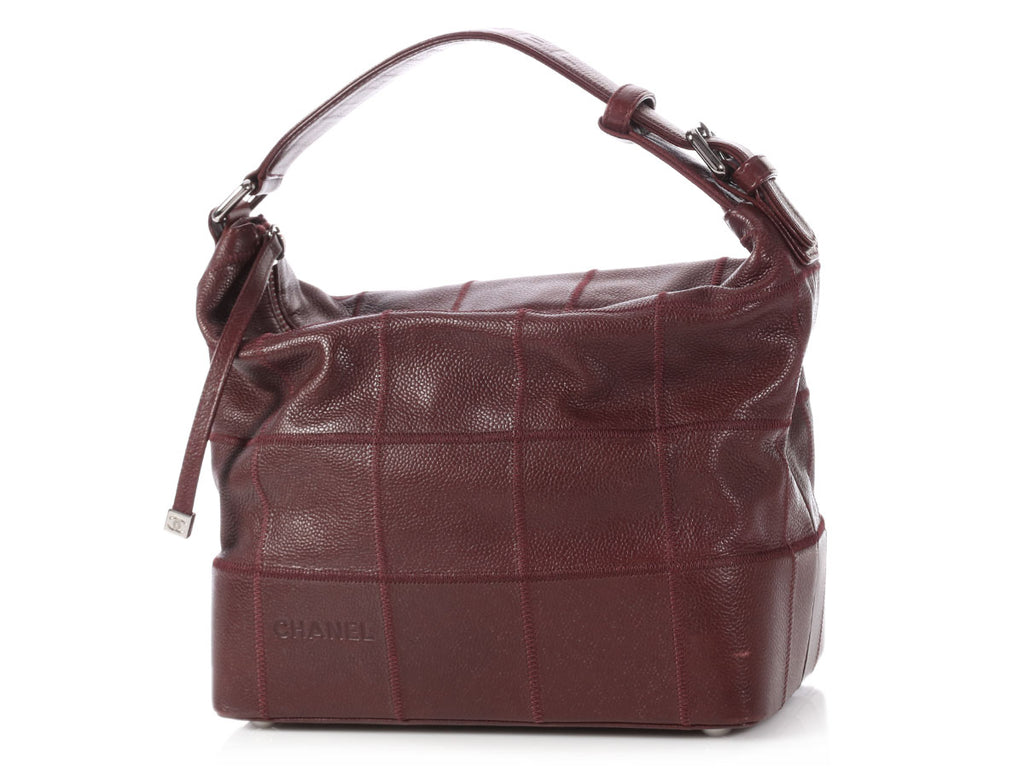 Chanel Burgundy Square Quilted Caviar Shoulder Bag