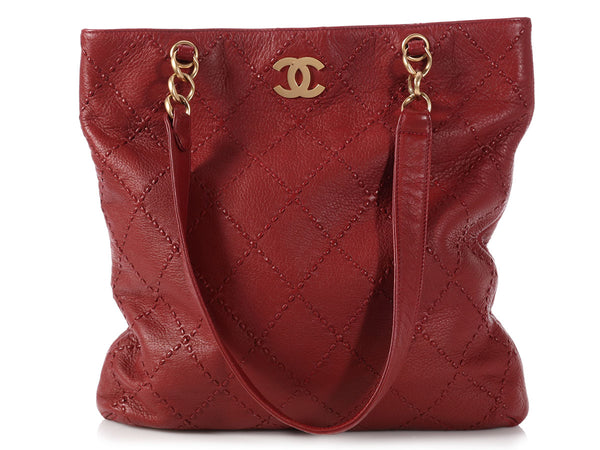 Chanel Red Quilted Soft Caviar Slim Tote
