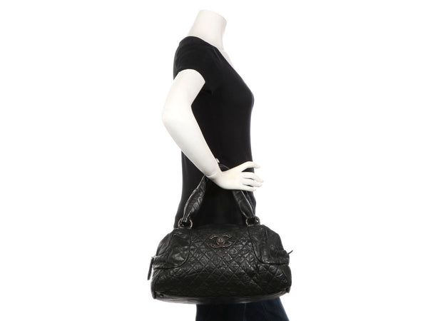 Chanel Black Part-Quilted Distressed Calfskin Duffle