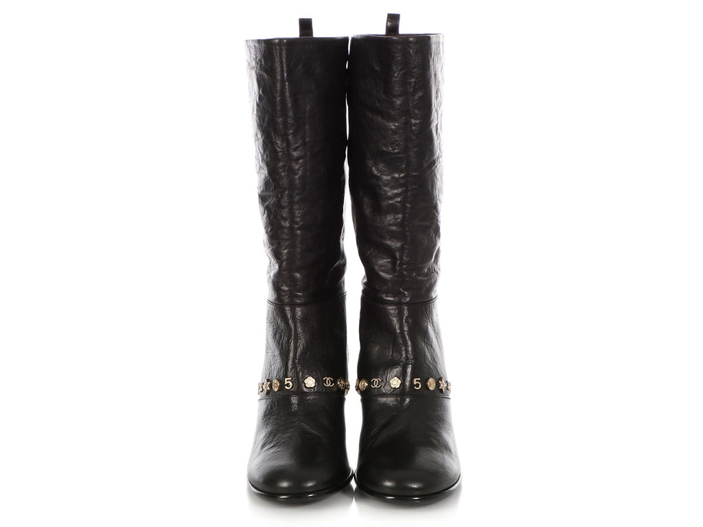 Chanel Black Calfskin Lucky Charms Boots