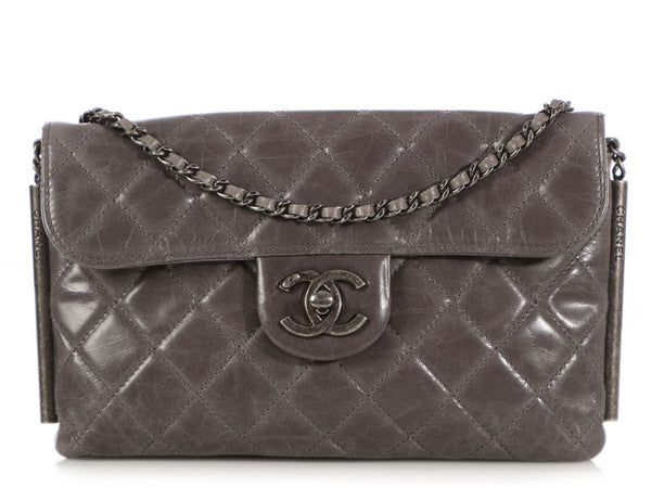 Chanel Gray Quilted Distressed Calfskin Crossbody