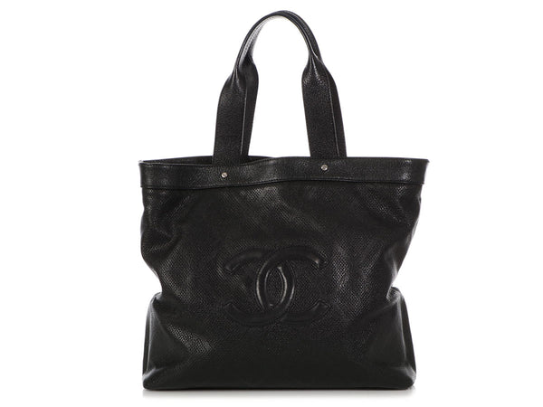 Chanel Large Black Perforated Quilted Calfskin Tote